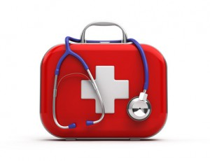 Stethoscope and First Aid Kit isolated
